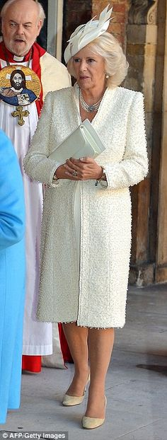 Camilla, Duchess of Cornwall leaves Chapel Royal in St James's Palace in central London following the christening of Prince George of Cambri...