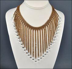 Art Deco Necklace Chainmaille Mesh Glass Chevron Bib by boylerpf, $135.00