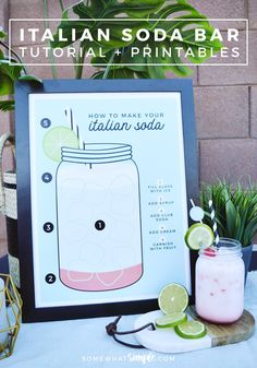 You don't need a major holiday as an excuse to create an Outdoor Italian Cream Soda Bar! We'll show you how easy it is to create a fun space for any gathering! Italian Sodas Recipe, Italian Soda Bar, Italian Cream Soda, Italian Drinks, Italian Ice, Italian Baby Showers, Italian Party Decorations, Luau Baby Showers, Diy Spring