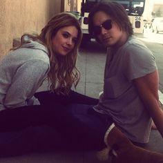 Ashley Benson(Hanna) and Tyler Blackburn(Caleb) on the set of Pretty Little Liars