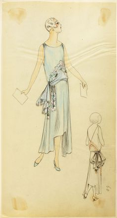 Fashion Design of a dropped waist, sleeveless draped evening dress. House of Paquin, 1928.  Fashion Museum Bath