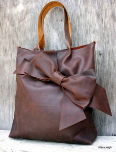 Chocolate Brown Bow Tote Bag in Distressed Matte by stacyleigh, $350.00