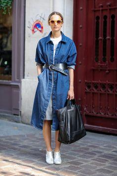 One way to wear a denim dress!