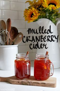 Mulled Hot Cranberry Apple Cider. The perfect hot drink to serve guests this week!