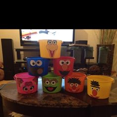 Made these buckets for the sesame street themed party!