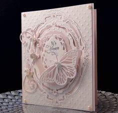 Loll's Bday card by jasonw1 -   Marianne Design LR0271  Obsession Impression Butterfly and roses  SB Opulent Opals