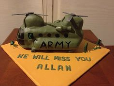 Chinook Helicopter Cake - Could I possibly duplicate for my son's birthday? Helicopter Cake, Nerf Cake, Chinook Helicopters, My Son Birthday, Cake Decorating, Decorating Ideas, Birthday Cakes, Baked Goods, Cake Ideas
