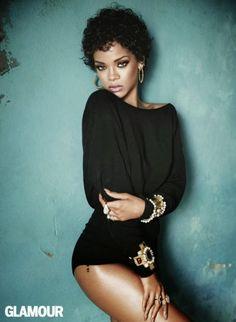 Rihanna with short curly hair - Photo: Terry Tsiolis for Glamour November 2013