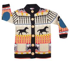 Name It cardigan has what could easily be a Mustang trotting across its midriff, dividing a mish-mash of odd designs. So incongruous are the graphic elements on this sweater that little girls could match it with anything in their well-organized closets.