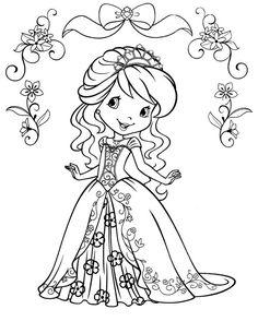 ausmalbild Emily Erdbeer mit einem Diadem
