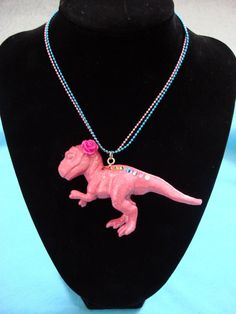 GIANT Pink T-Rex Dinosaur Glam Necklace