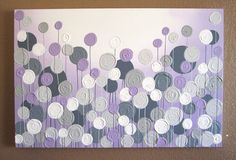 "Light Purple and Grey Textured Painting, Abstract Flowers, Large 24x36"" Acrylic Painting on Canvas"