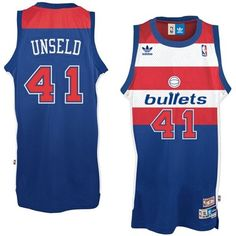 #41 Adidas Authentic Wes Unseld Men's Blue NBA Jersey - Washington Wizards  Bullets Throwback
