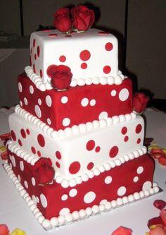 Red and white polka dot cake
