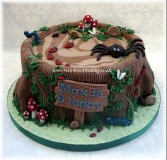 Tree Stump & Bugs Birthday Cake by Helen The Cake Lady Birthday Cake For Cat, 25th Birthday Cakes, Birthday Cake For Husband, Mermaid Birthday Cakes, Homemade Birthday Cakes, 2nd Birthday, Cakes To Make, Cakes For Boys, How To Make Cake