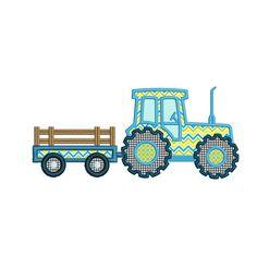 Tracteur avec remorque Machine broderie Applique Design. Tracteur avec remorque Applique. Broderie monogramme. Et le transport.