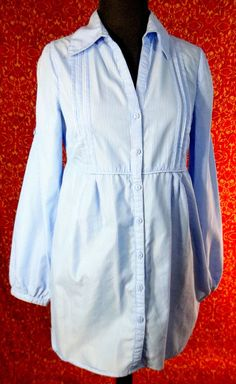 3 SUISSES COLLECTION blue striped long sleeve smock tunic blouse 36 (T39-01J5G) #3SUISSESCOLLECTION #Blouse #Casual