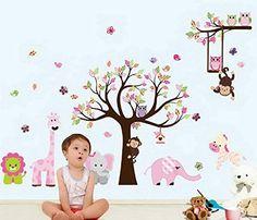 sunnicy traumhaft schnes eule und baum wandtattoo eulenbaum wandsticker dekoration fr kindergarten schlafzimmer kinderspielzimmer