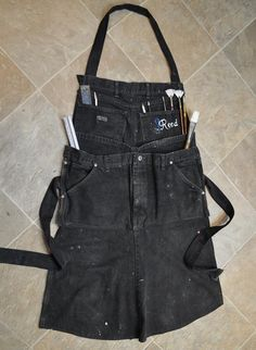 www.JReedStudios.com. An Artist Apron out of old carpenter jeans!! I couldn't find that perfect artist's apron with enough pockets. So I made my own out of an old pair of carpenter jeans. Works great, and as you can see, mine has gotten much use already! Www.JReedStudios.com