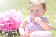 girl, lace, pink, purple, first, birthday 1st, one, cake, cake smash, icing, messy outdoor, sunshine