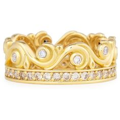 Konstantino Flamenco 18K Diamond Swirl Ring ($3,650) ❤ liked on Polyvore featuring jewelry, rings, diamond jewelry, diamond rings, bezel set ring, 18k ring and konstantino jewelry