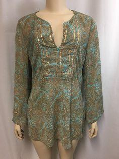 Papaya Tunic Top 14 16 XL Floral Brown Aqua Lightweight Gold Sequins V-neck #Papaya #Tunic #Casual