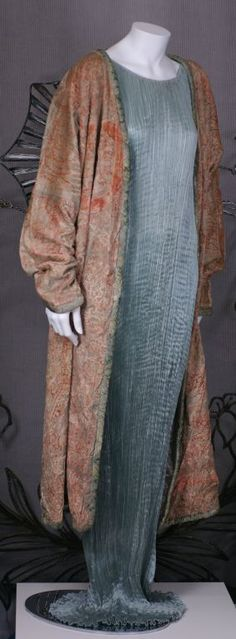 Mariano Fortuny Pink Coral Stencilled Velvet Long Coat
