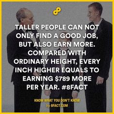 Taller people can not only find a good job but also earn more. compared with ordinary height  every inch higher equals to earning 789 Dollar more per year.   subconscious mind is a social community blogpagechannel and a website dedicated to teach you how to do things and stuff Teaching you interesting funny facts every day and collecting the best top 10s we can find  includes amazing strange interesting random funny weird cool facts   #subconscious_mind #did_you_know #How_to #Facts #top_10…