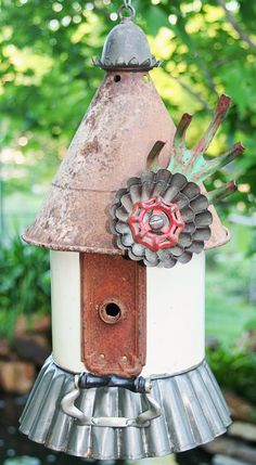 Birdhouse Metal Birdhouse Reclaimed Objects Birdhouse by channa01, $115.00