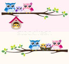 Stock photo: owl bird family at tree branch cartoon