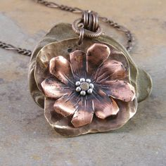 Hand Forged Copper and Brass Organic Flower by marciejanedesigns, $75.00