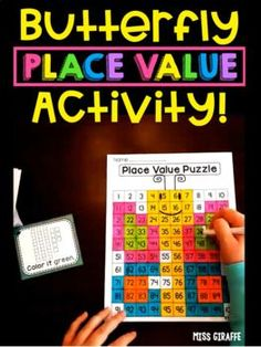 100 chart puzzle for super fun numbers practice! These are amazing color by number activities that reveal a mystery picture - kids love them! Place Value Activities, Number Sense Activities, Math Stations, Math Centers, Butterfly Place, 100 Chart, Bilingual Classroom, Learning Numbers, First Grade Math