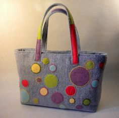 Colorful Dots Applique Tote Hand Bag