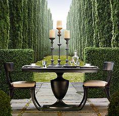 Yes, it's nice furniture - but I'll take the view behind it!    Restoration-Hardware-Klismos-garden-table-round.jpg (429×418)