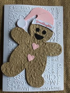 Excited to share this item from my #etsy shop: Christmas Card - Gingerbread man female Pink Santa Hat Handmade Handcrafted Greetings Card Granddaughter Sister Niece Pink Christmas, Handmade Christmas, Christmas Cards, Pink Santa Hat, Envelope Design, Gingerbread Man, Greeting Cards Handmade, Your Cards, Card Ideas