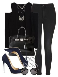 """Style #10386"" by vany-alvarado ❤ liked on Polyvore featuring Topshop, Zara, Hermès, ASOS, Jimmy Choo and Yves Saint Laurent"