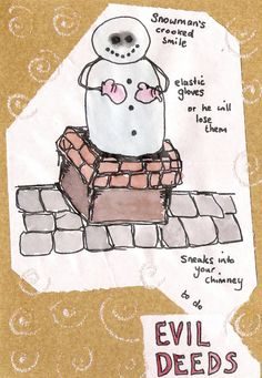 evil snowman xmas card design Crooked Smile, Homemade Christmas, Xmas Cards, Snowman, Snoopy, Fictional Characters, Design, Art, Christmas E Cards
