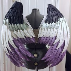 "nerdstrings: ""Almost done the asexual-flag-colored wings for my ace! "" Blessssss these look so good Cosplay, Ace Pride, Lgbt Memes, Gay Aesthetic, Lgbt Community, Gay Art, Wings, Outfit, Inspiration"