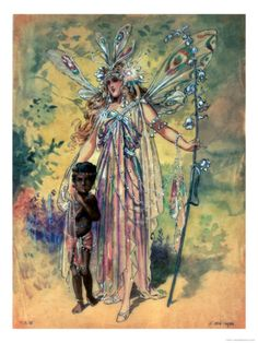 Titania, with Changling Child. Costume Design for Midsummer by C. Wilhelm.