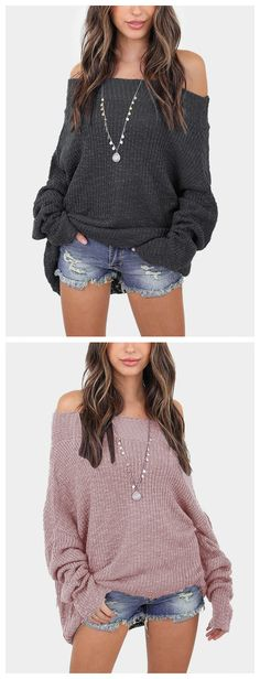 Off The Shoulder Long Sleeves Loose Plunge Sweaters