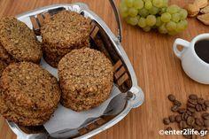 Μπισκότα βρώμης με ελληνικό καφέ, σταφίδες και αμύγδαλα « enter2life.gr Healthy Mind, Healthy Eating, Apple Cider, Biscuits, Cereal, Muffin, Cookies, Sweets, Breakfast