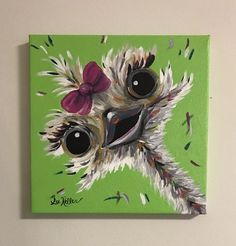 Ostrich Painting custom, colorful fun animal art, painting of an ostrich. Whimsical animal art, ostrich art by HippieHoundUSA on Etsy