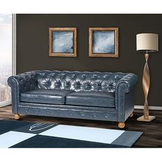 Shop for Winston Vintage Blue Chesterfield Sofa. Get free shipping at…