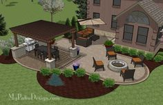 Outdoor Entertainment Patio Design With Pergola And Bar   855 Sq. Ft