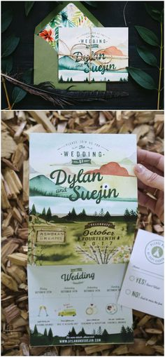 Rustic Watercolor Mountains and trees quad fold Invitation #weddings #invitations #weddingideas ❤️ http://www.deerpearlflowers.com/hand-crafted-wedding-invitations-from-wideeyespaperco/
