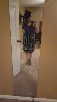 Box 2 - One more shirt attempt with some ankle boots. Still was making me look super hippy and not defining my waist enough to make up for it. I felt shorter and bigger. Not fun.  41Hawthorn Aileen Skirt (Returned)