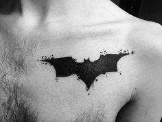 Batman logo on chest by Carissa at Sin on Skin Tattoo, Halifax