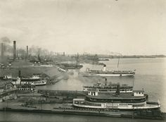 Toronto Harbour looking east from foot of Bay St., showing ferry docks and Mayflower in port Toronto Ontario Canada, Toronto City, Old Pictures, Old Photos, Unknown Picture, Great Lakes Ships, Old Street, Waterfront Homes, Landscape Photos