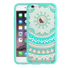 Cute Nicest Girly iPhone 7 Case with Screen Protector , Hybrid Shock Absorbing, TPU Bumper, Scratch Resistant, Hard Back Cover Clear with Flower Design Protective Cover for iPhone- Mint Mandala Iphone 7 Cases, Cell Phone Cases, Iphone 6, Apple Iphone, Apple Watch Accessories, Cell Phone Accessories, Iphone 7 Screen Protector, Newest Cell Phones, Flower Designs