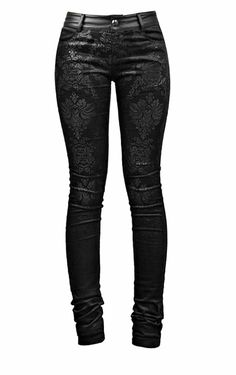 Blooms Punk Women Gothic Printed Tight Stretch Pants